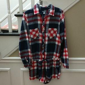 Aerie flannel one piece pajama romper, medium